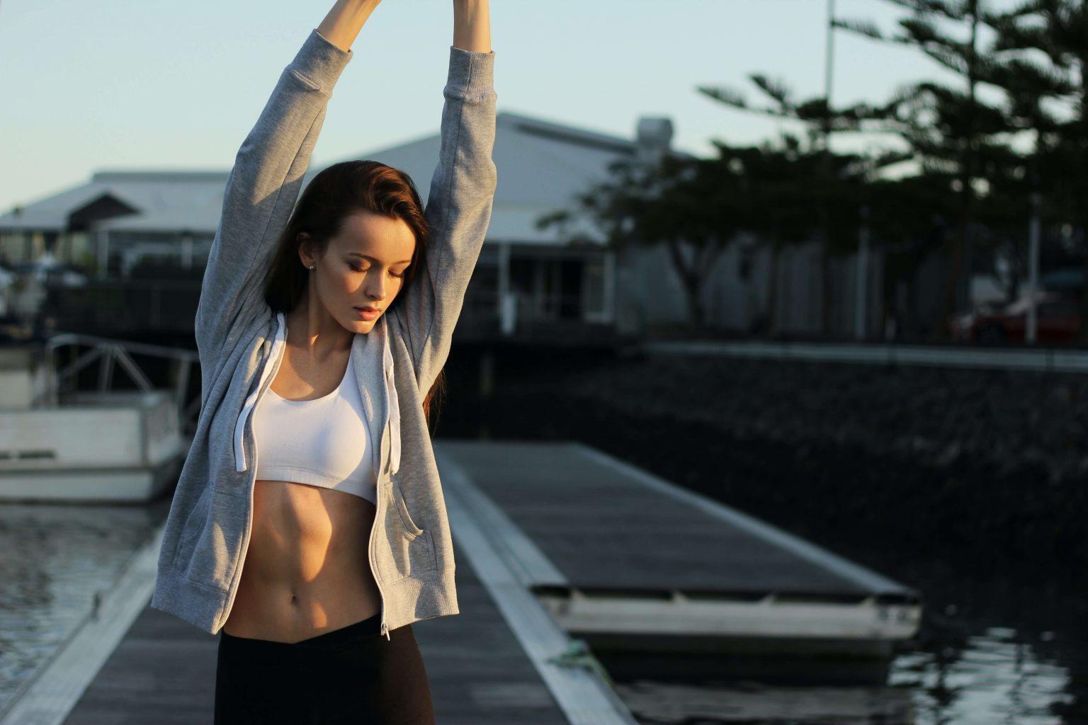 a lady stretching
